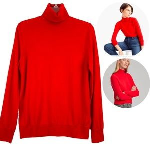 New J. Crew Red  Merino Wool Turtleneck Sweater M